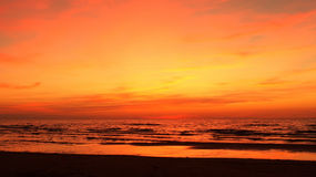 Sunset and red sky over sea Royalty Free Stock Photo
