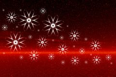 Red sunset. Snowflakes Royalty Free Stock Photo