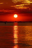 Red sunset in the Venetian lagoon, Italy Stock Photography