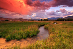Red sunset in the Wasatch Mountains. Rural red sunset in the Wasatch Mountains, USA Stock Photography