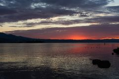 Red sunshine in Rapperswil CH royalty free stock photography