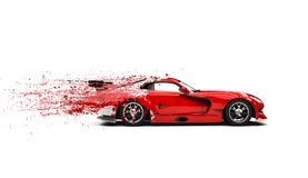 Red super car - paint flying trails royalty free stock image