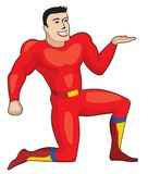 Red super hero with giving hand Royalty Free Stock Photos