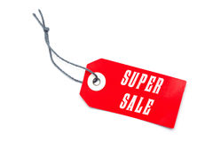 Red Super Sale label tag. With special offer message Royalty Free Stock Photos