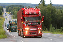 Red Super Scania R450 Omerta of Weeda Transport Stock Photography