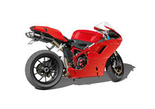 Red super sports motorbike Stock Photos