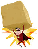 Red Superhero Raising Heavy Big Rock. Illustration of a comic red superhero throwing a big heavy rock with his superpower, and copy space inside the boulder Royalty Free Stock Image