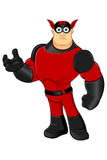 Red Superhero - Unsure. A red and black cartoon superhero character Royalty Free Stock Photography