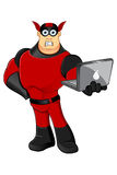 Red Superhero - Unsure & Laptop. A red and black cartoon superhero character Royalty Free Stock Photo