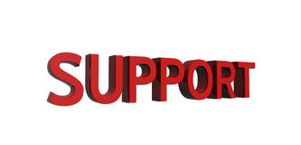 Red-support. 3D render of red text on a white background, support Royalty Free Stock Image