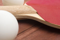 Red surface table tennis rackets Royalty Free Stock Photography