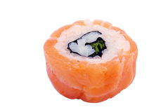 Red sushi. Red salmon sushi on the white background Royalty Free Stock Photography