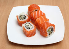 Red sushi on plate Royalty Free Stock Images