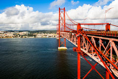 Red Suspension metallic Bridge in Lisbon Stock Photography