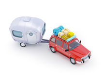 Red suv adventure with trailer Royalty Free Stock Photos