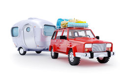 Red suv adventure with trailer Royalty Free Stock Image