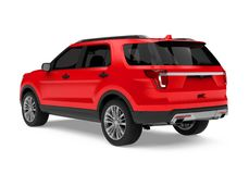 Red SUV Car Isolated Stock Image