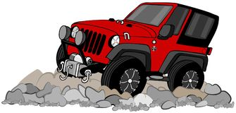 Red SUV climbing in rocks Royalty Free Stock Photo