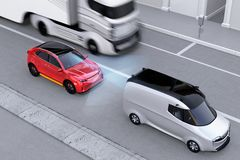 Red SUV emergency braking to avoid car crash. Automatic Emergency Braking Emergency brake system concept. Left-hand traffic scene. 3D rendering image royalty free illustration
