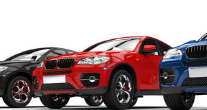 Red SUV in the showroom Royalty Free Stock Image
