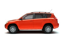 Red SUV side view royalty free stock photography