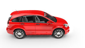 Red SUV - Top Side View Stock Photo