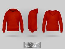 Red sweatshirt hoodie without zip template in three dimensions royalty free illustration