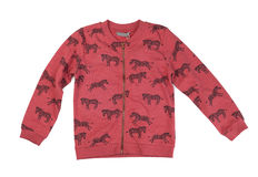 Red sweatshirt with a pattern Zebra, isolate Stock Image