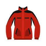 Red sweatshirt with a zipper icon, flat style Royalty Free Stock Photography
