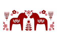 Red Swedish dala horse and red pink flower patterns illustrate vector vector illustration