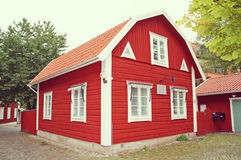 Red swedish house, sweden. Stock Image