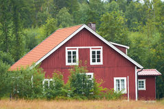 Red swedish wooden house Stock Photography