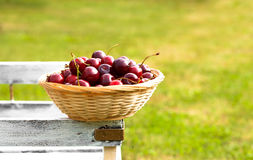 Red sweet cherries in basket Royalty Free Stock Photography
