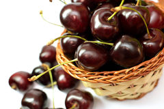Red sweet cherries in a basket Royalty Free Stock Images