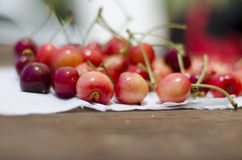 Red sweet cherries on the table Stock Photography