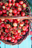 Red sweet cherries, top view Stock Image