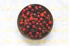 Red sweet cherries with water drops Royalty Free Stock Photo