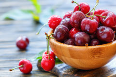 Red sweet cherries in water drops closeup. royalty free stock photo