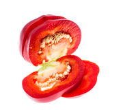 Red sweet chopped round pepper, isolated on white background Stock Photography