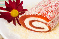 Red sweet dessert with flower in a plate Royalty Free Stock Photo