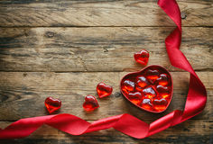 Red sweet heart in box Stock Image