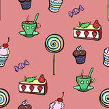 Red Sweet Pattern. Different tasty sweets on the red background Stock Images