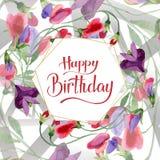 Red sweet pea flowers. Happy Birthday handwriting monogram calligraphy. Watercolor background. Frame golden crystal. Red sweet pea flowers. Happy Birthday stock illustration