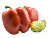 Red sweet pepper and cucumber. On white background Stock Photo