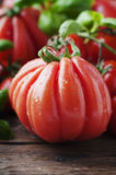 Red sweet tomato and green basil Stock Photo