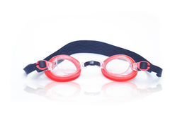 Red swim goggles. Isolated on white Royalty Free Stock Photos