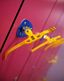 Red swimming lockers with keys Stock Photo