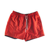 Red swimming shorts. Isolated on white Stock Image