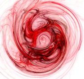 Red Swirl. Swirled fractal background in red and white.  Wispy smoke-like pattern Stock Photography