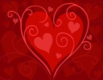 Red Swirling Valentine's Day Heart Card Royalty Free Stock Image